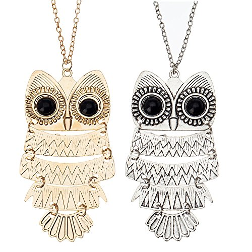 - Amazing Value Jewelry Set Kit of 2 Classic Style Necklaces With Cute Black Eyed Owls Pendants On Chains In Silver And Golden Colors By VAGA®