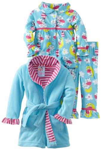 Baby Bunz Baby Girls' LG 3 Piece Cow Over The Moon Robe and Pajama Set