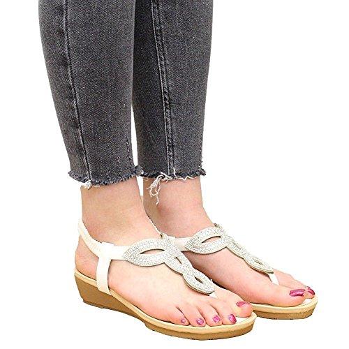 3 Size 8 Con Comode Sandali Party Summer Bassa Diamante Donna Scarpe Da Zeppa Bianco wAPR6R