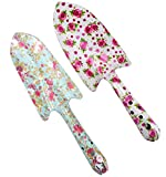 Annymall Metal Garden Hand Shovel, with Rose Painted Soil Planting Digging Spade Tool 2 pieces (White/Mint)