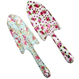Annymall Metal Garden Hand Shovel with Rose Painted Soil Planting Digging Spade Tool 2 pieces (White/Mint)
