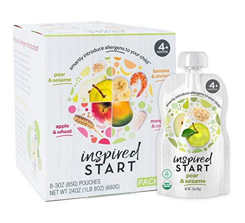Early Allergen Introduction Baby Food: Inspired Start Pack 2, 3 oz. (Pack of 8 baby food pouches) - Non-GMO, include wheat, sesame, shrimp and cod in baby's diet - Nut Baby Food