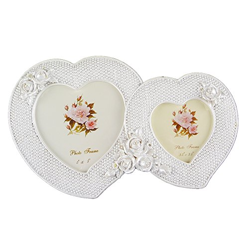 Chadstone Resin Double Photo Frame Romantic White Love Heart Shape European Style Picture Frame - Kids Chadstone
