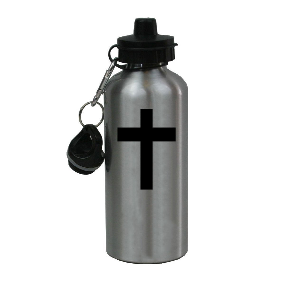 Personalized Custom Cross, Jesus, Christian Aluminum Silver Finish 20 Ounce Water Bottle Customizable