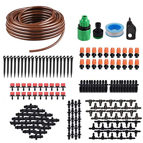 (KORAM IR-D 50 Feet Blank Distribution Tubing Hose Plant Watering Irrigation Drip Kit Accessories Include Atomizing Nozzle Mister Dripper, 1/4-Inch)