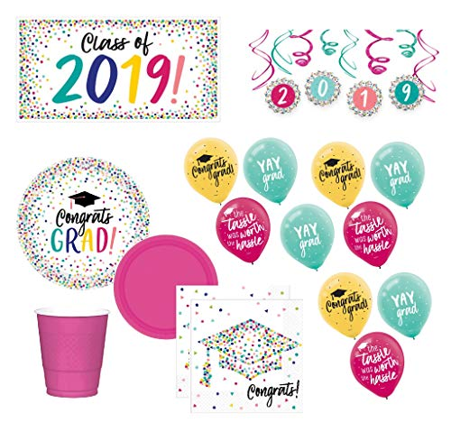 Graduation Party Supplies 2019 Graduate Decorations and Tableware Confetti Theme for 36 Guests