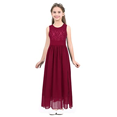 CHICTRY Long Chiffon Junior Bridesmaid Big Girls Cut Out Lace Elegant Wedding Party Formal Flower Dress