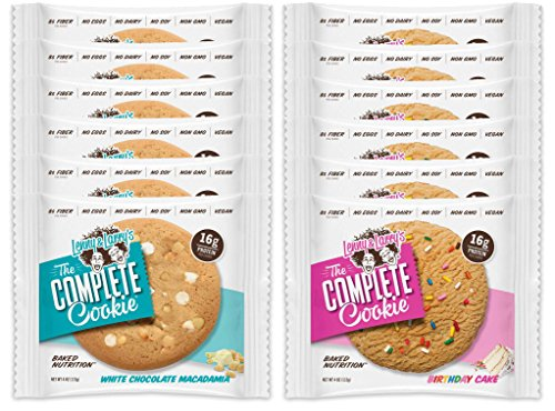 Lenny & Larry's The Complete Cookie - 6 White Chocolate Macadamia and 6 Birthday Cake (Pack of 12)