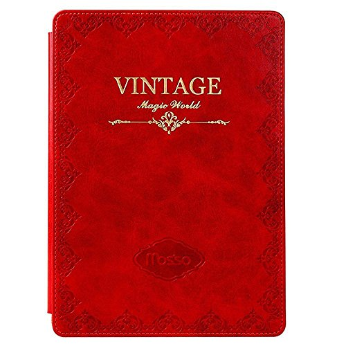 "Price comparison product image For iPad Mini 4 Case, Kobwa Retro Premium PU Leather Old Book Style Folio Smart Case Cover with Slim Fit Magnetic Stand for Apple iPad Mini 4"", Red"