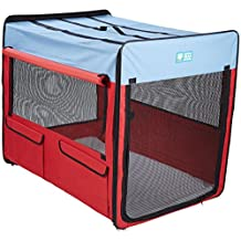 Guardian Gear ZA420 42 Collapsible Folding Soft Portable Dog Crate XL for Extra Large Breed Dogs-Red/Blue