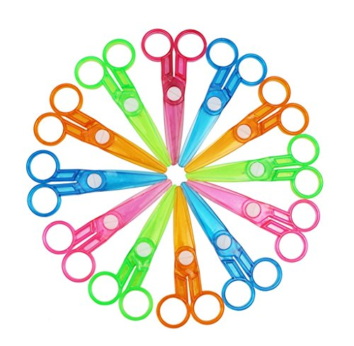 Assorted Color Plastic Preschool Training Scissors Art DIY Craft Paper Cutting Stationery for Kids (12Pcs) -