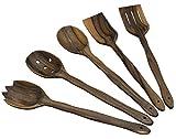 MyFancyCraft Handmade Utensil Set. Wooden Cute Kitchen Utensils Set 14''/35 cm. Walnut Wood Kitchen Supplies & Utensils Big Set of 5