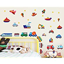 ufengke® Cartoon Vehicles Trains Ships and Aircraft Wall Decals, Children's Room Nursery Removable Wall Stickers Murals