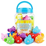 Boley 24 Piece Rainbow Fish Bucket - Boys and Girls Educational Water Floats Toy Set for Bath Tubs and Pool Games - Assorted Colors - Great for Babies, Toddlers, Children