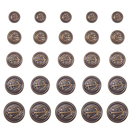PH PandaHall 50pcs 5 Size Antique Bronze Flat Round Brass Shank Buttons with Naval Anchor Buttons Set for Blazer Suits Sport Coat Jacket and Jeans (Naval Antiques)