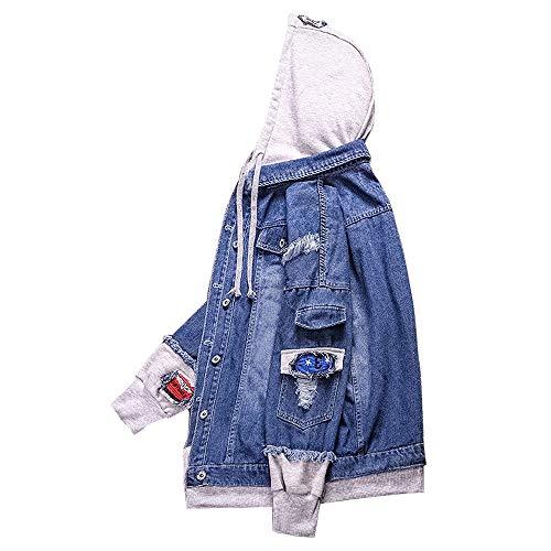 Hoodie Classic Dark Jacket Longue Fashion Veste Bleuv Manche Denim Flying Trucker Blue Jean Coat Blouson Mens homme IU4AxR