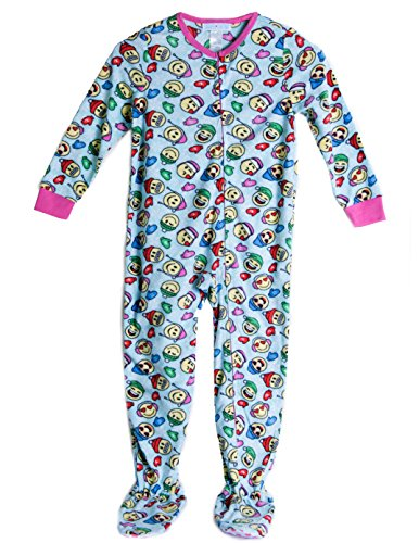 Caramel Cantina Big Girls One Piece Footed PJ Fleece (Large / 10-12, Winter (Girls Size 12 Christmas Pajamas)