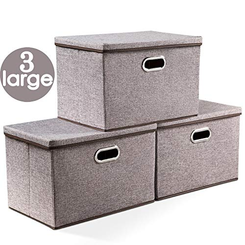 Prandom Large Collapsible Storage Bins with Lids [3-Pack] Linen Fabric Foldable Storage Boxes Organizer Containers Baskets Cube with Cover for Home Bedroom Closet Office Nursery (17.7x11.8x11.8
