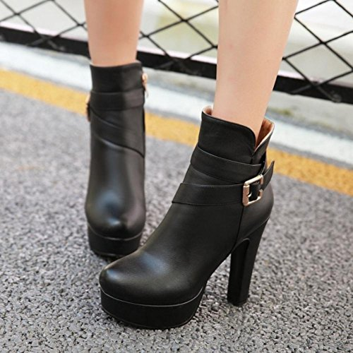 Buckle Shoes toe Platform Women's Heels Premium PU White Best Round Black Sole Black 12cm High 4U Metal Rubber Boots x0YZ1qAn