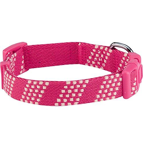 Image of Blueberry Pet 10 Patterns Artisan Crochet Inspired Endless Squares Dog Collar, Virtual Pink, Medium, Neck 14.5