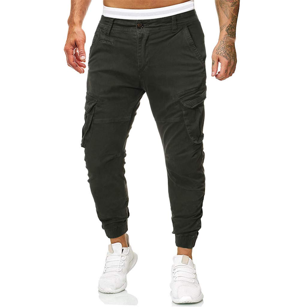 Mens Cargo Jogger Pants Military Army Combat Work Elastic Waist Tapered Twill Chinos with Zipper Casual Gym Fitness Trouser for Running Workout by Armfre Bottom