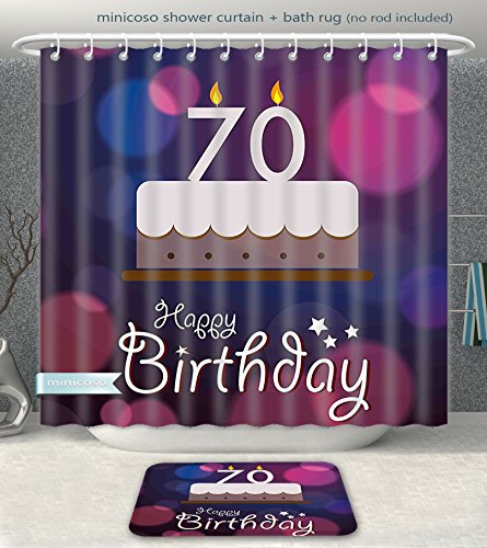 Rug 0089 (Aireeo Bathroom 2-Piece Suit 70th Birthday Decorations Cartoon Style Birthday Party Cake Abstract Backdrop Image Purple and Lilac Shower Curtain And Bath Rug Set, 79