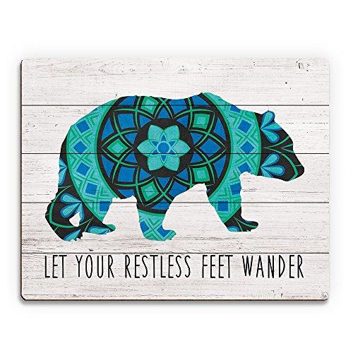 Let Your Restless Feet Wander - Blue Bear Mandala Boho Bohemian Saying Quote Wall Art Print on Wood