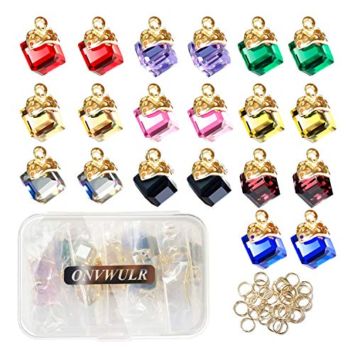 Jewel Keychain - ONVWULR 20Pcs 1 Box Cubic Crystal Charms 10 Colors Pendants for Jewelry Making Necklace Earring Accessory