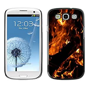 FECELL CITY // Duro Aluminio Pegatina PC Caso decorativo Funda Carcasa de Protección para Samsung Galaxy S3 I9300 // Fire Dark Black Summer Night Burn