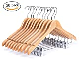 Wooden Hangers 20-Pack Wood Durable Hangers for Suits Coat Clothes with Anti-rust Clips for Pants