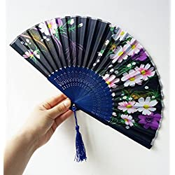 Design Silk Handheld Folding ¬Butterfly Pink Flowers Pattern Bamboo Fans, Japanese Cherry Blossom Folding Hand Dancing Wedding Party Decor Fan By Bniweim