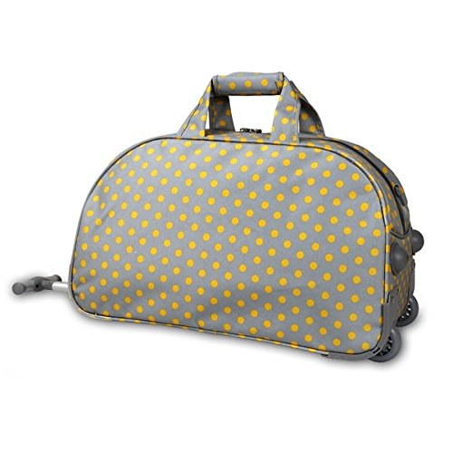 OS Single Piece Grey Polka Dot Rolling Duffel Bag, Fashion Carry On Lined, Polyester Material, Adjustable Strap, Telescoping Handle, Plenty Of Space, Attractive Style, Perfect for weekend road trip
