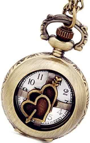 Lancardo Unique Retro Design Bronze Arrow Through Hearts Openwork Cover Pocket Watch for Lovers