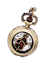 Lancardo Unique Retro Bronze Arrow Through Double Hearts Pocket Quartz Watch for Lovers with Gift Bag