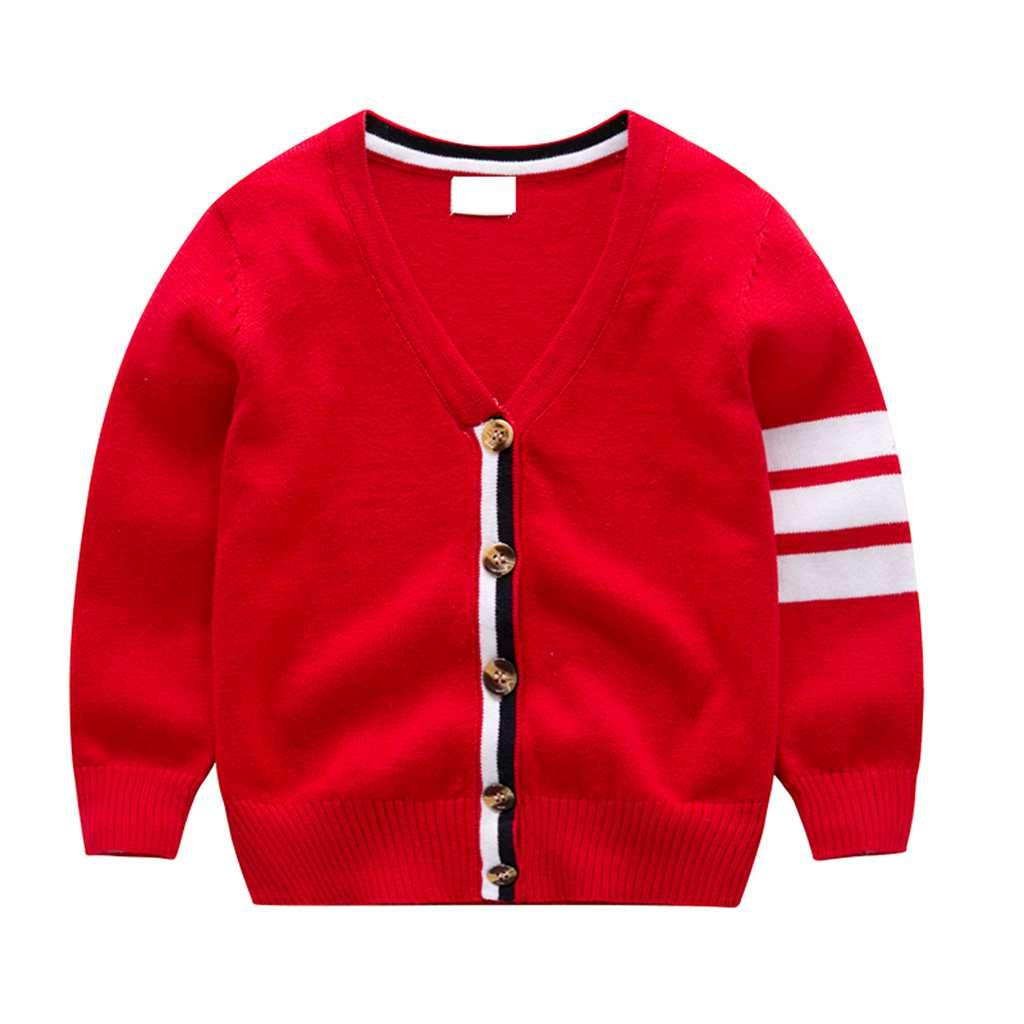 Tonwod Baby Boy Cardigan, Long Sleeve V-Necked Knitted Button Sweater Coat Spring Autumn Tops for 1-9Y (100cm, Red-b02) by Tonwod