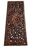 Large Carved Wood Wall Panel. Floral Wood Carved Wall Decor. Size 35.5''x13.5''x0.5'' Asiana Home Decor (Brown)