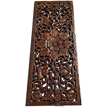 Amazon.com: Large Carved Wood Wall Panel. Floral Wood Carved Wall ...