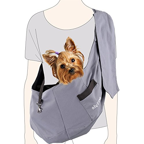 sPETyle Hands Free Reversible Pet Bag Sling Carrier with Adjustable Strap for Small Dogs Puppies Cats Rabbits (M(4-11lbs), Brown/Grey)