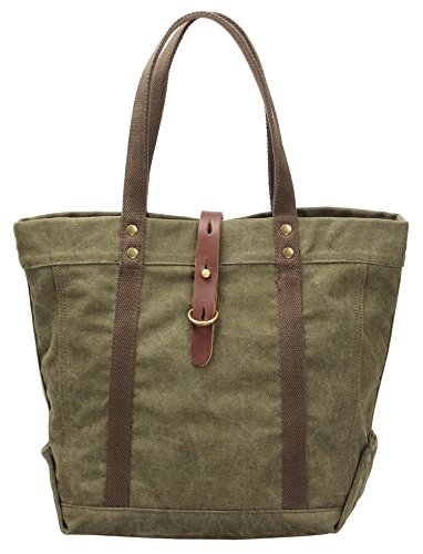 Womens Canvas Traveling Shoulder Tote Shopper Top Handle Durable Bag 17.7In#T-001?Army Green?