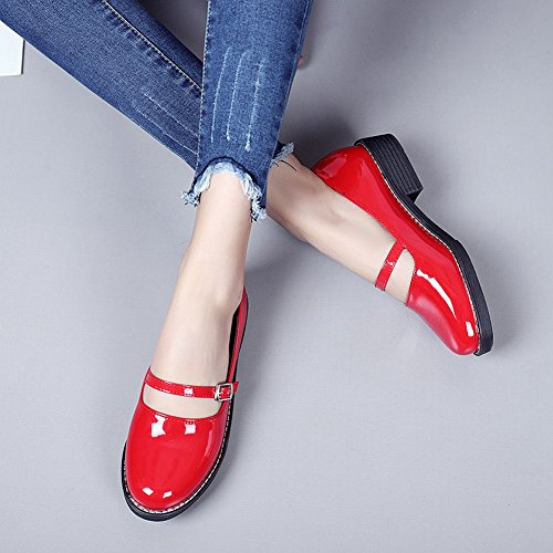 Carolbar Women's Solid Color Charm Mid Heel Buckle Casual Court Shoes Red 2gksmUGt