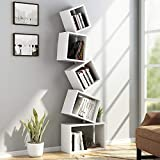 Tribesigns 5 Shelf Bookshelf Modern Bookcase, Wall Mount Floating Shelf Cube Book Rack Storage Organizer for CD, Books, Home Decor (White)