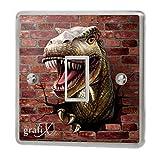 Dinosaur & Brick Wall Light Switch Sticker Vinyl / Skin cover sw56