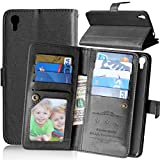 Alcatel Idol 3 ( 5.5 inch ) Case,YiLin [Wallet Case] 9 Card Holder [Detachable Wallet Folio] Premium PU Leather Cover Case with [Card Slots] [Stand] for Alcatel OneTouch IDOL 3 (5.5 inch) [Black]