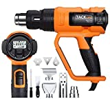 Heat Gun, Tacklife HGP72AC 1700W Hot Air Gun 122°F-1202°F (50 ℃ -650 ℃)with Large LCD Display,Variable Temp Memory Settings and Wind Speed Adjustment(250L-500L/ min),for Stripping Paint,Shrinking PVC