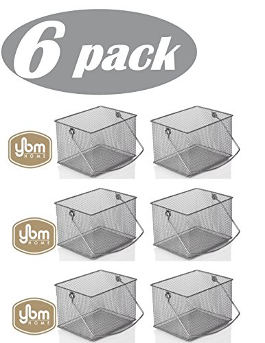 YBM Home Mesh Wire Food Storage Organizer Bin Basket with Handle for Kitchen Pantry, Cabinets, Bathroom, Laundry Room, Closets, Garage - Rectangle Metal Farmhouse Mesh Basket, 6 PACK