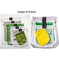 2 juegos de bolsas ecológicas para frutas y verduras, 12 piezas diferentes. Bolsas reutilizables con doble jareta y costura de refuerzo. Incluye porta xabukas AMARILLO y VERDE.