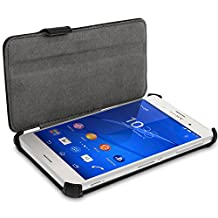iGadgitz Premium Folio Black PU Leather Case Cover for Sony Xperia Z3 D6603 with Multi-Angle Viewing Stand + Screen Protector