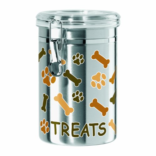 Oggi Airtight Stainless Steel 51-Ounce Pet Treat Canister with Treats, Paws and Bones Motif-Clear Acrylic Flip-Top Lid with Locking Clamp Closure ()