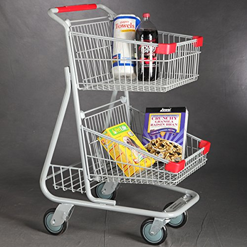 New Double Basket Mini Chrome Plated Steel Shopping Cart Weight Capacity 66 Lbs by Store Shopping Cart