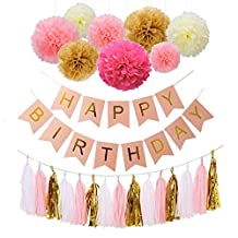 Happy Birthday Bunting Banners, Emango Golden Garlands Pack with 15 Gold Tassels and 8 Tissue Paper Pom Poms Flowerfor Happy Birthday Decorations
